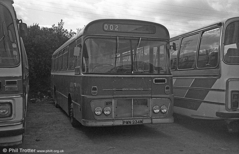 Ford R1014/Willowbrook B45F 234 (PWN 234M) in 'retirement' with  with Bluebird, Neath in 1981.
