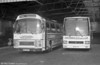 185 (MKH 644A, but formerly JOX 443P), a Leyland Leopard/Plaxton C47F, acquired from Midland Red in 1976 alongside 130 (B130 CTH), a 1985 Leyland Tiger/Duple Caribbean 2 C48FT .