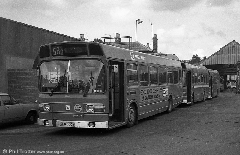 East Kent 1550 (GFN 551N), a Leyland National/B41F acquired by SWT from East Kent in 1982, seen at Brunswick St. and destined to become SWT 350.