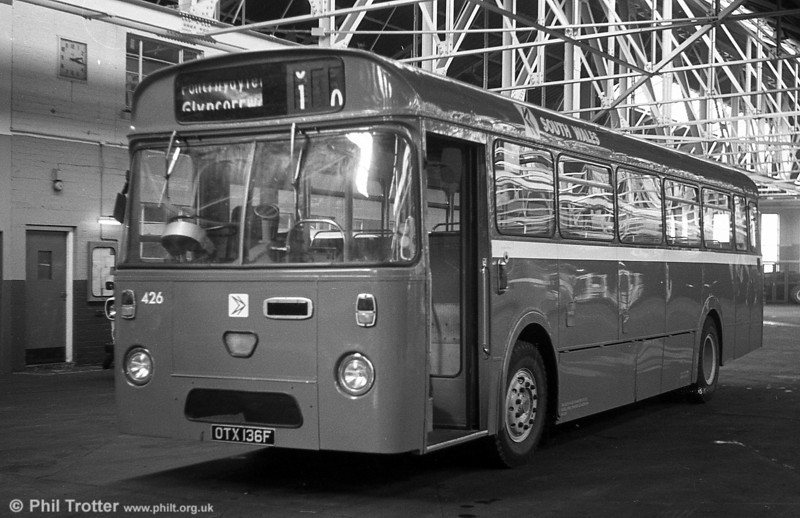 Seen at Ravenhill after a repaint is 426 (OTX 136F) an AEC Reliance/Marshall B51F, ex-Thomas Bros., Port Talbot.