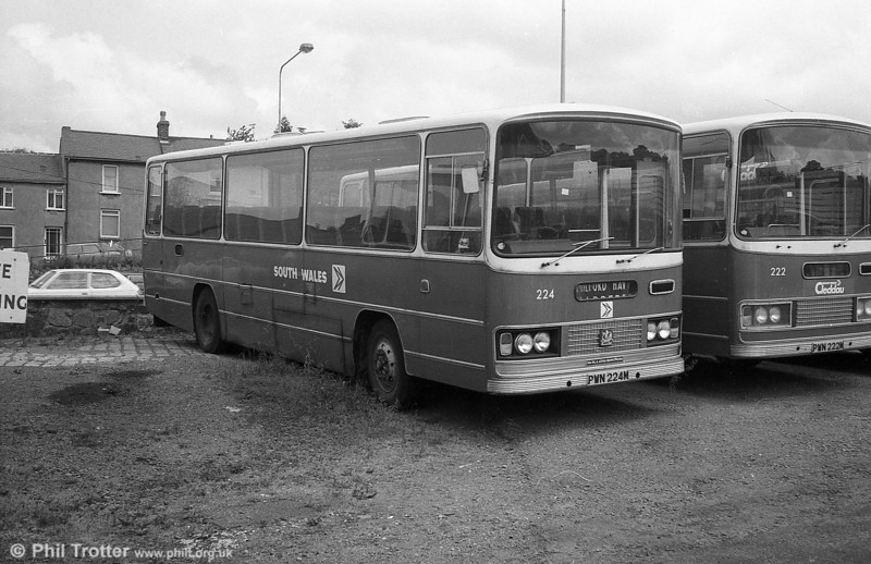 Bedford YRQ/Willowbrook DP45F 224 (PWN 224M) in store at Haverfordwest.