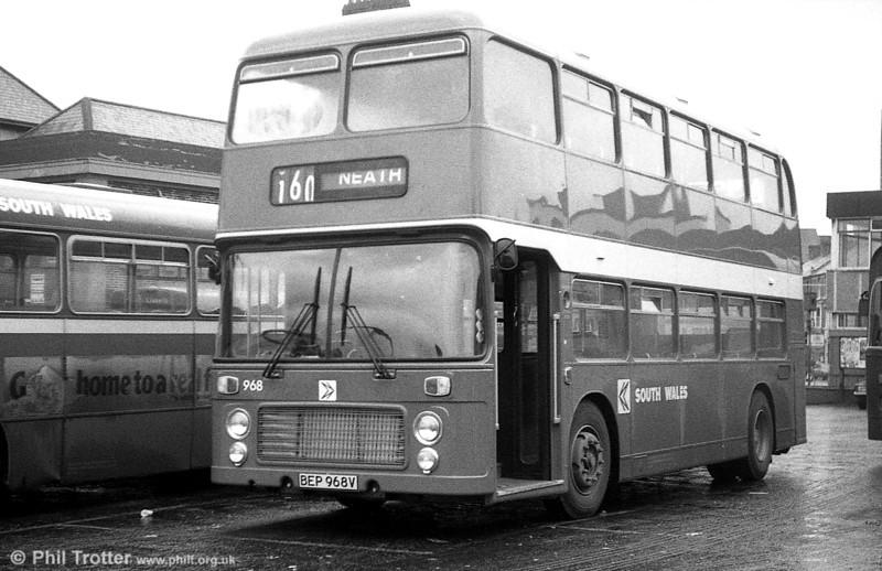 Bristol VRT SL3/ECW H43/31F 968 (BEP 968V) at  Neath.