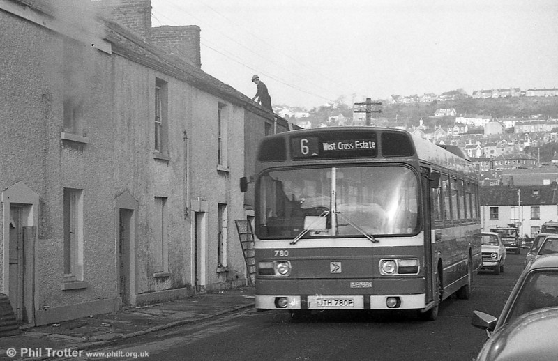 Leyland National/B52F 780 (JTH 780P) going like a house on fire in Swansea.