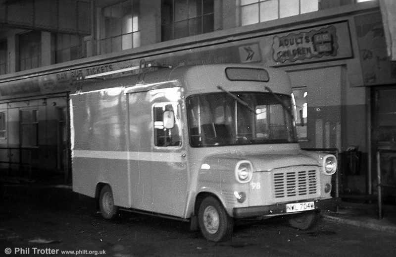 98 (NWL 704M), a 1973 Ford Transit/Strachan B16F obtained for 'Gower Pony' services in 1977, but seen in later condition as a works van.