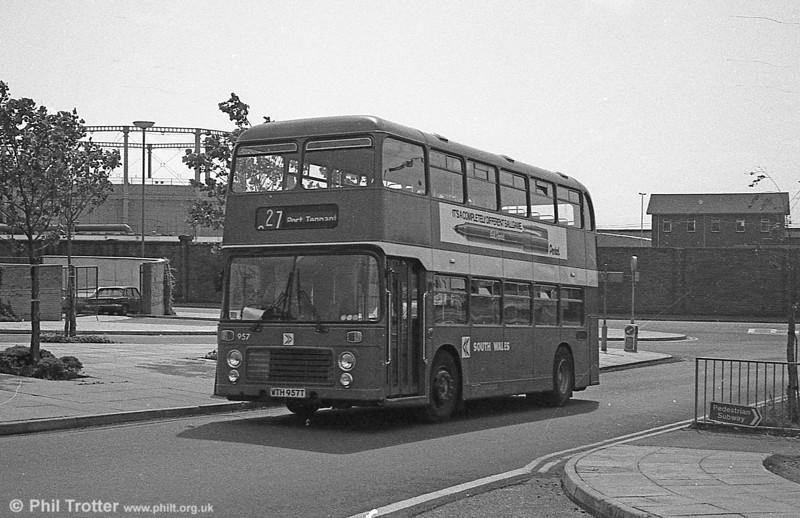 Bristol VRT SL3/ECW H43/31F 957 (WTH 957T) at Swansea.