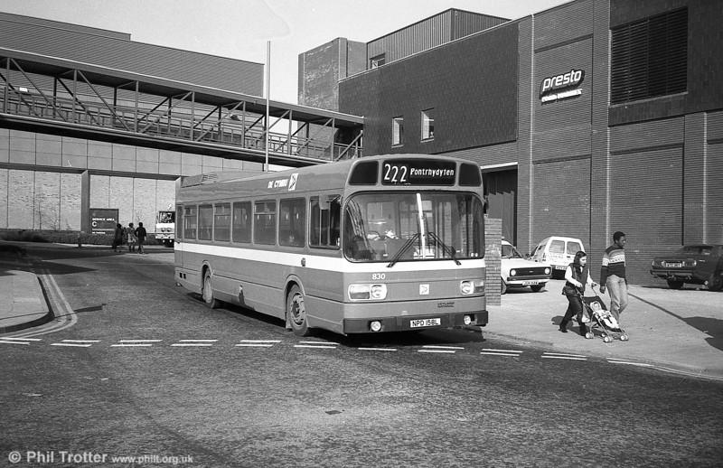 Leyland National B52F 830 (NPD 158L), ex-London Country LNB58 at Swansea.