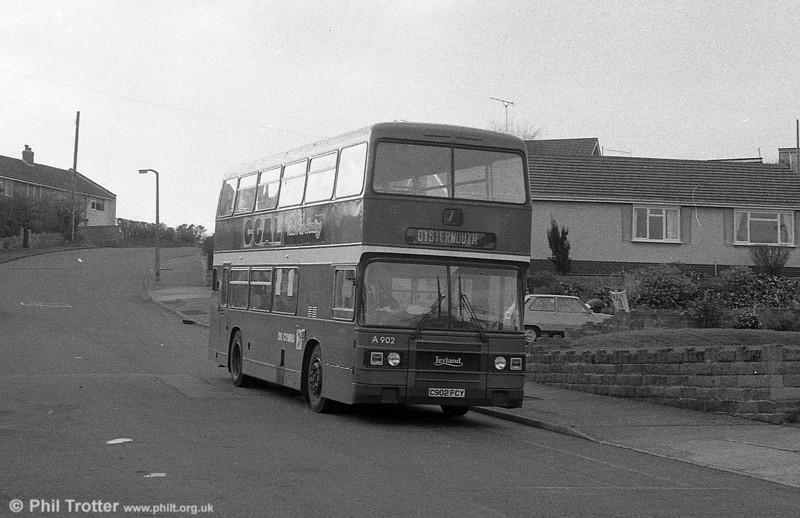 902 (C902 FCY) a 1985 Leyland Olympian/ECW H45/30F at West Cross.