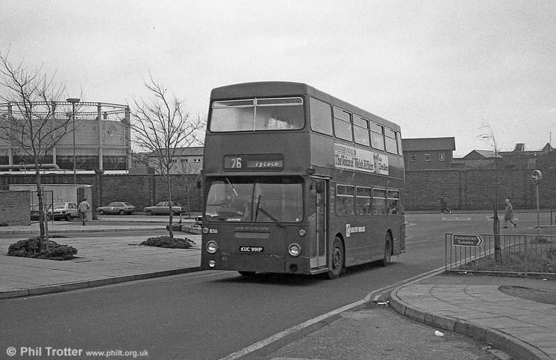 Daimler Fleetline/MCW H44/32F 856 (KUC 991P), formerly LT DMS1991 at Swansea.