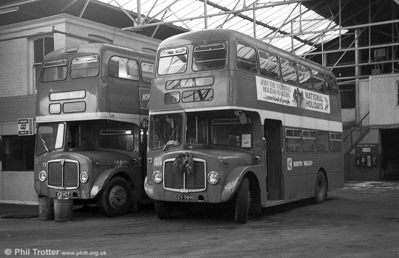 AEC Regent V/Willowbrook H37/27F 869 (CCY 989C) with 598 at Gorseinon during the farewell tour of December 19th 1981.