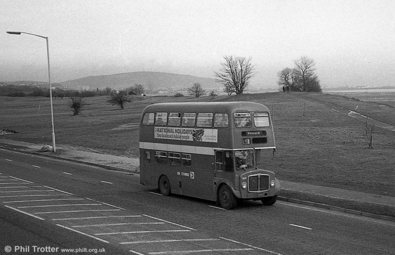 AEC Regent V/Willowbrook H37/27F 869 (CCY 989C) at Mumbles Road.