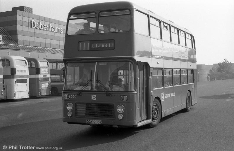 Bristol VRT SL3/ECW H43/31F 920 (RTH 920S) at Swansea.