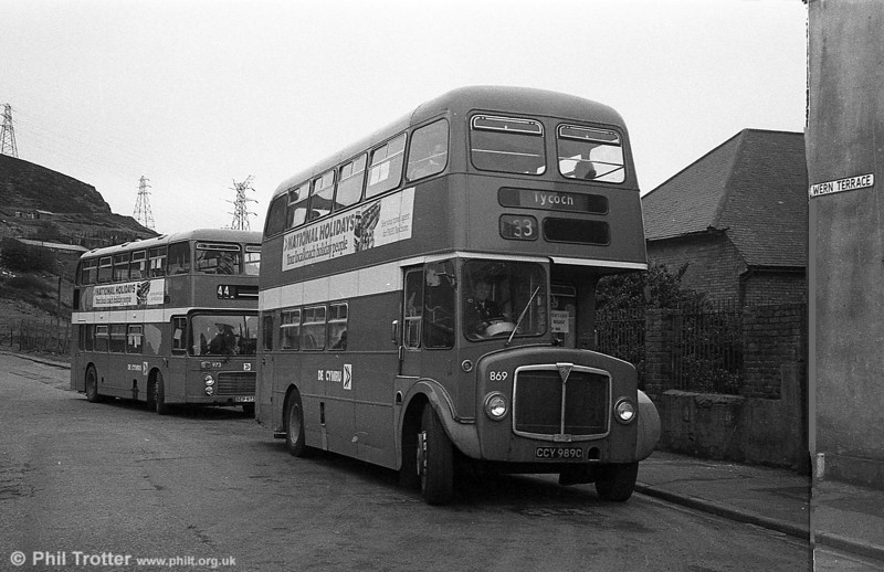 AEC Regent V/Willowbrook H37/27F 869 (CCY 989C) at Port Tennant during the final tour of February 27th 1982.