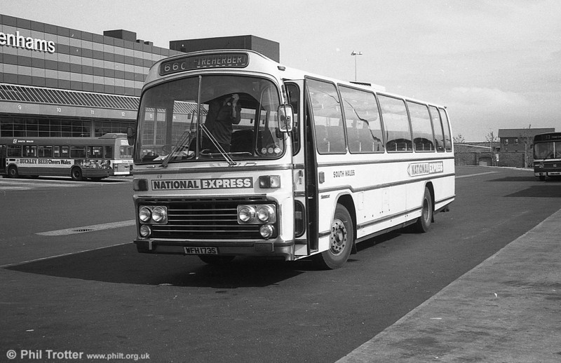 From May 3rd 1981, the Swansea activities of National Travel South West were transferred to SWT. The previous afternoon, the transfer of coaches from the BRS North Dock Depot to SWT's Brunswick depot had taken place. About 25 vehicles were involved and these became part of the SWT fleet. This is 149 (WFH 173S), a Leyland Leopard PSU3E/4R Plaxton C53F.