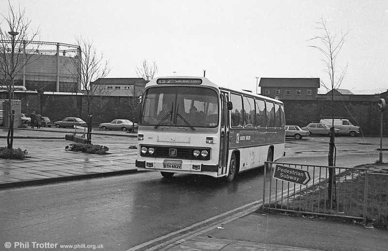 Two new services operating under the 'Citylinker' title were introduced from 22 September 1980; X51 from Ammanford – Pontardawe – Neath - Port Talbot - non stop via M4 – Cardiff and X52 Carmarthen – Llanelli – Swansea – non stop via M4 – Cardiff. The services ran on alternate hours. Service X1 continued hourly, but now only ran Swansea – Cardiff, the extra journeys between Swansea and Llanelli being covered by a short working on route X52. Leyland Leopard/Willowbrook DP51F 482 (BTH 482V) arrives at Swansea en route from Cardiff to Carmarthen.