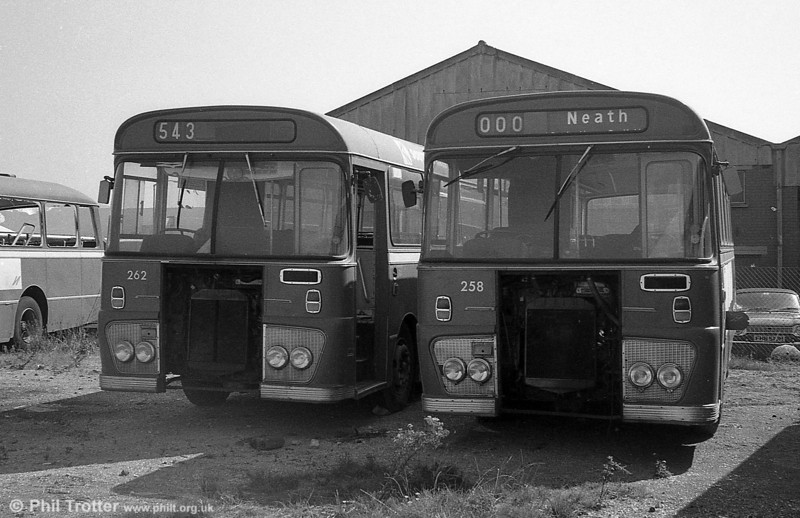 Ford R1014/Willowbrook B45F 258 and 262 (TCY 258N and TCY 262N) at Port Talbot.