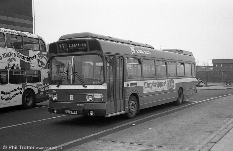 Leyland National B52F 827 (NFN 78M), ex-East Kent 1078 at Swansea.