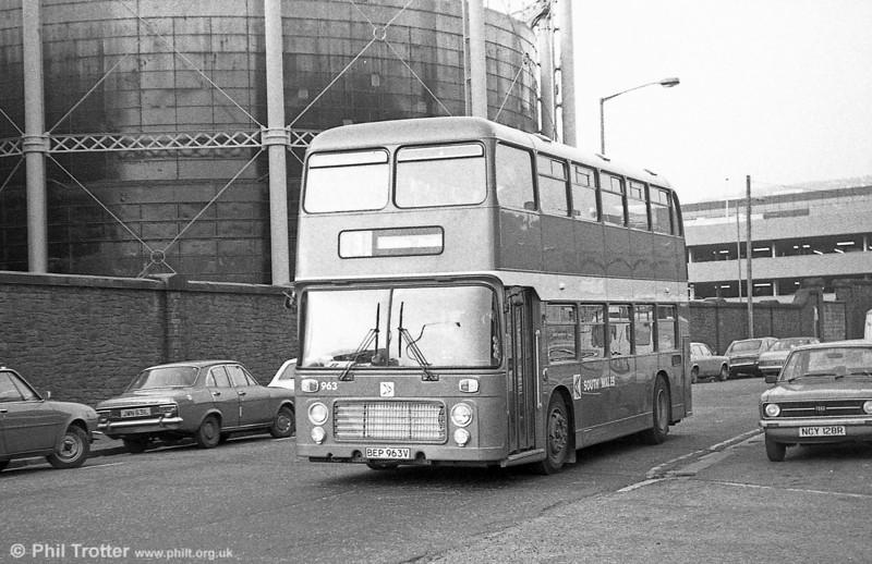 Bristol VRT SL3/ECW H43/31F 963 (BEP 963V) at Swansea.