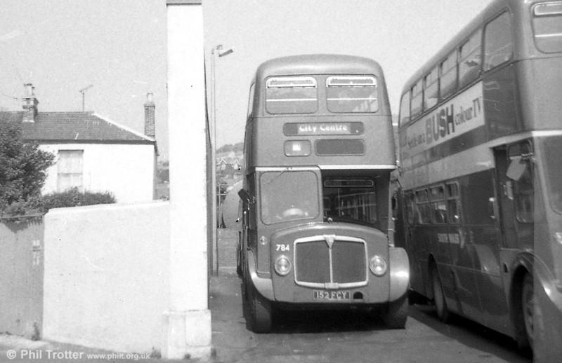 AEC Regent V/Willowbrook H39/32F 784 (152 FCY) at Brunswick St.