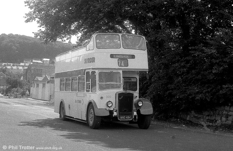 1953 Bristol KSW5G/ECW O33/28R 500 (WNO 484) at Oystermouth in the later reversed livery.