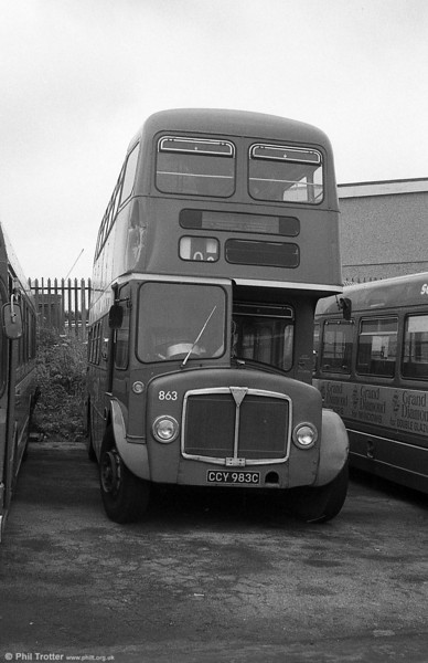 1965 AEC Regent V/Willowbrook H37/27F 863 (CCY 983C) at Ravenhill.