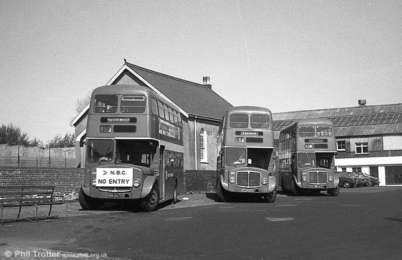 AEC Regent V/Willowbrook H37/27F 881/889 (GWN 859D, 867E) at Gorseinon with 855 (438 HCY).