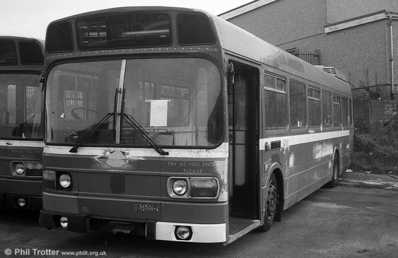 An unidentified ex-London Country Leyland National B52F at Ravenhill, prior to being prepared for service with SWT.