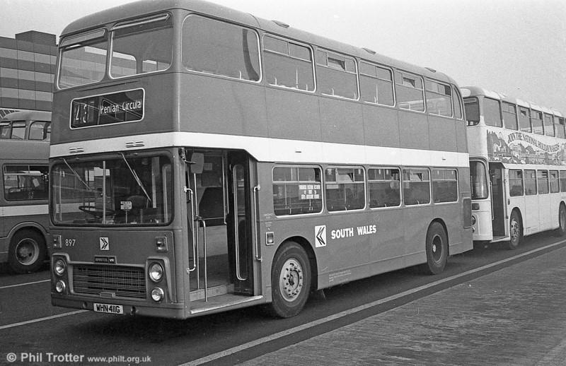 897 (WHN 411G), a Bristol VRT/ECW H39/31F, formerly United Auto 601, at Swansea.