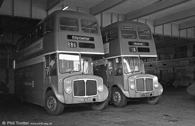 AEC Regent Vs/Willowbrook H37/27F 869 (CCY 989C) and 886 (GWN 864D) at Singleton St.