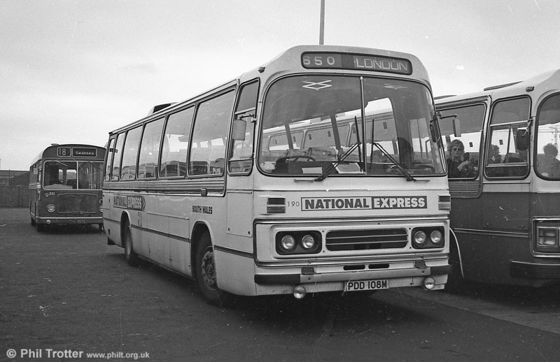 190 (PDD 108M), a Leyland Leopard  PSU3B/4R Duple C47F. 190 met an unfortunate end in a serious accident on the M4 near Swindon on 17th August 1983; the coach was virtually destroyed in the incident.