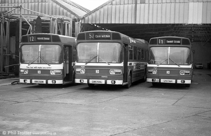 723 (NWN 723M), 709 (LWN &)(L) and 761 (JTH 761P), all Leyland National B52F at Brunswick St.