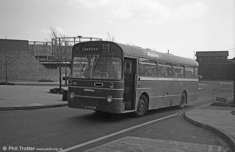 AEC Reliance/Willowbrook B45F 216 (YWN 553J) at Swansea.
