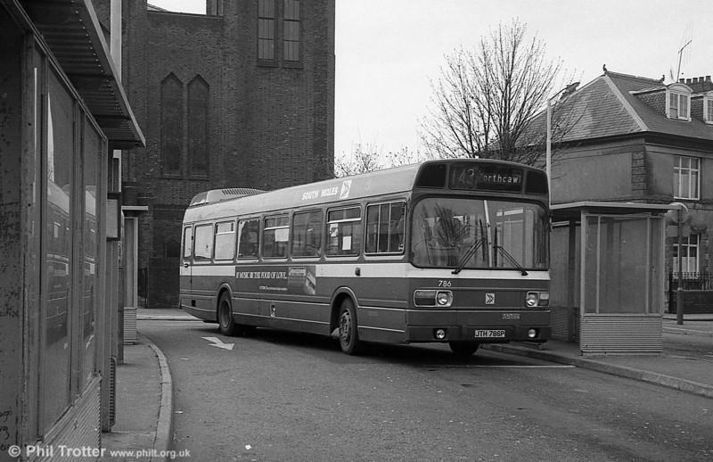 Leyland National B52F 786 (JTH 786P) at Llanelli.