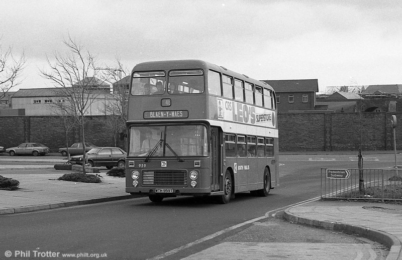 Bristol VRT/ECW H43/31F 959 (WTH 959T) was destroyed by fire in December 1981. It returned from ECW in April 1983, having been rebodied. It was fitted with a Transign destination display and moquette seating.