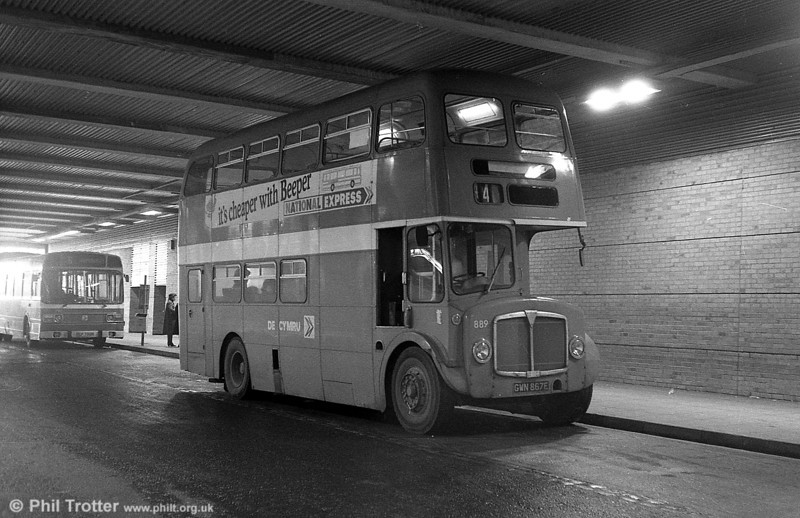 AEC Regent V/Willowbrook H37/27F 889 (GWN 867E) at Swansea.
