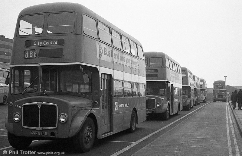 AEC Regent V/Willowbrook H37/27F 886 (GWN 864D) at Swanseaduring the final tour of February 27th 1982.