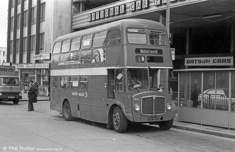 1965 AEC Regent V/Willowbrook H37/27F 814 (CCY 984C) at Orchard St., Swansea.