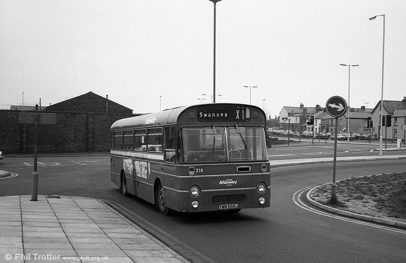 AEC Reliance/Willowbrook B45F 218 (YWN 555J) at Swansea.