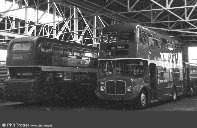 Freshly repainted AEC Regent V with H39/32F 583 (151 FCY) at Ravenhill, together with a visiting Atlantean from Haverfordwest.