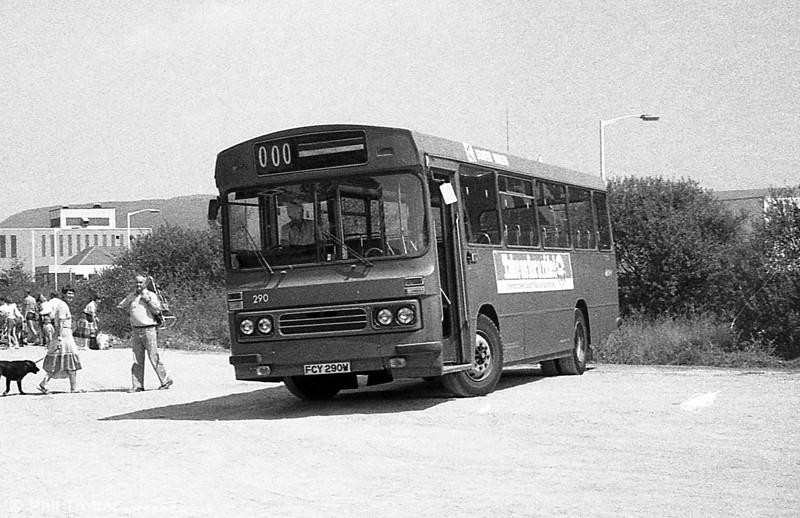 1981 Bedford YMQ/Duple B43F 290 (FCY 290W) at Pontarddulais.
