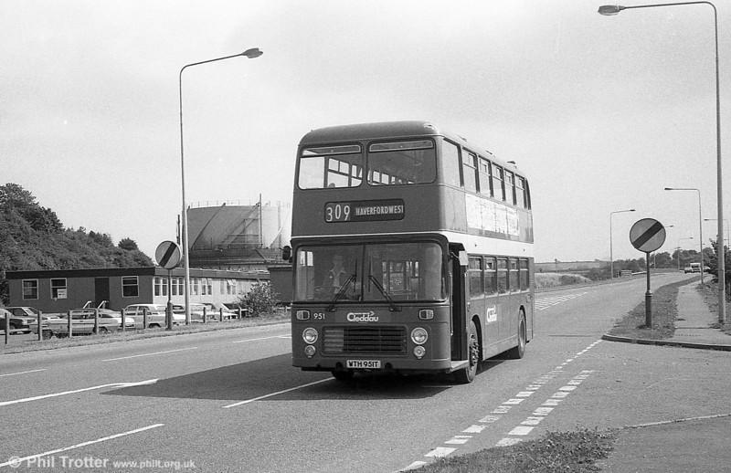 Bristol VRT SL3/ECW H43/31F 951 (WTH 951T) at Haverfordwest.