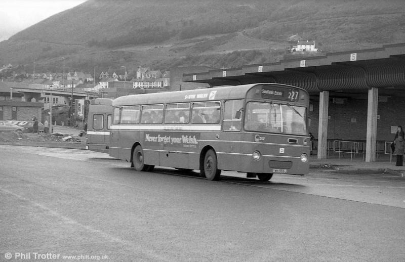 AEC Reliance/Willowbrook B45F 217 (YWN 556J) at Port Talbot.