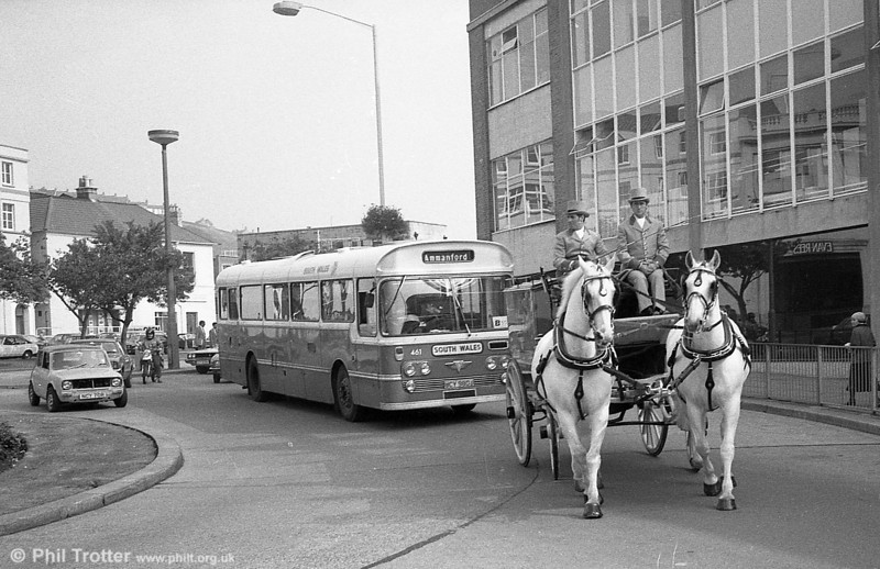 Not sure what the occasion was, but it couldn't have done much for timekeeping! 461 (UCY 980J) an AEC Reliance/Plaxton Derwent DP49F ex-N&C at Swansea.