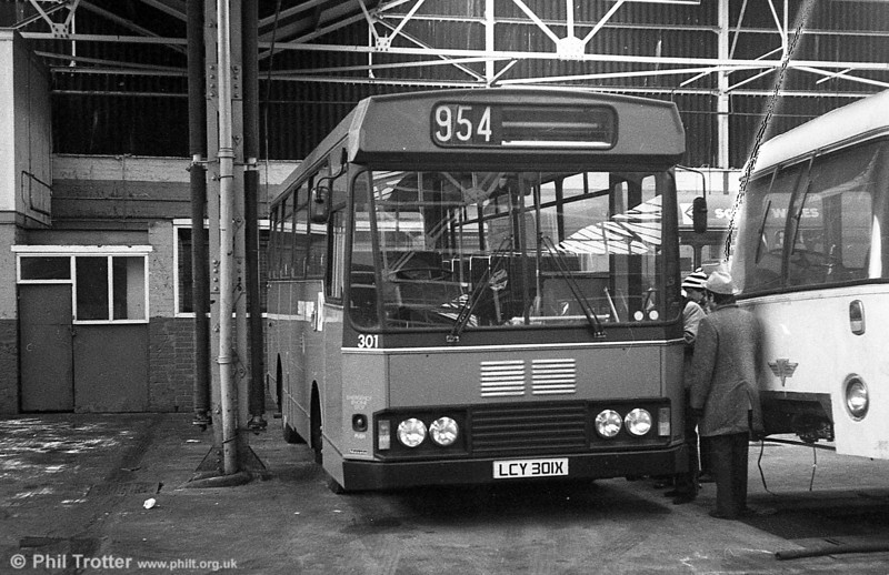 301 (LCY 301X), a Bedford YMQ/S with Lex B37F body seen at Gorseinon prior to entry into service. The 954 in the destination display refers to the body number - Lex 0954.