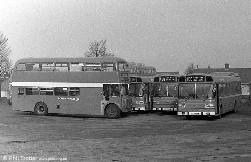One of the 1964 AEC Regent Vs/Willowbrook and three brand new Leyland Nationals - of which two are 735/6 - at Ravenhill.