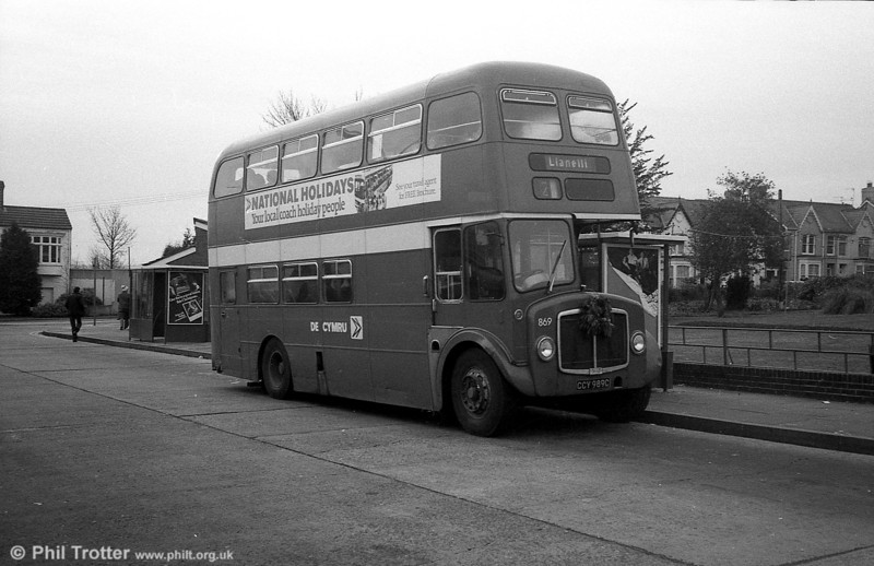 AEC Regent V/Willowbrook H37/27F 869 (CCY 989C) at Gorseinon during the farewell tour of December 19th 1981.