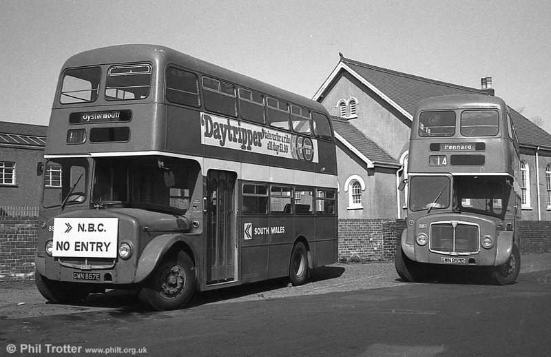 AEC Regent V/Willowbrook H37/27F 889 (GWN 867E) with 881at Gorseinon.