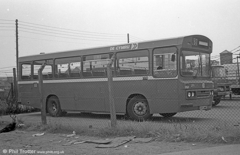 1981 Bedford YMQ/Duple B43F 291 (FCY 291W) in a dealer's yard prior to delivery.