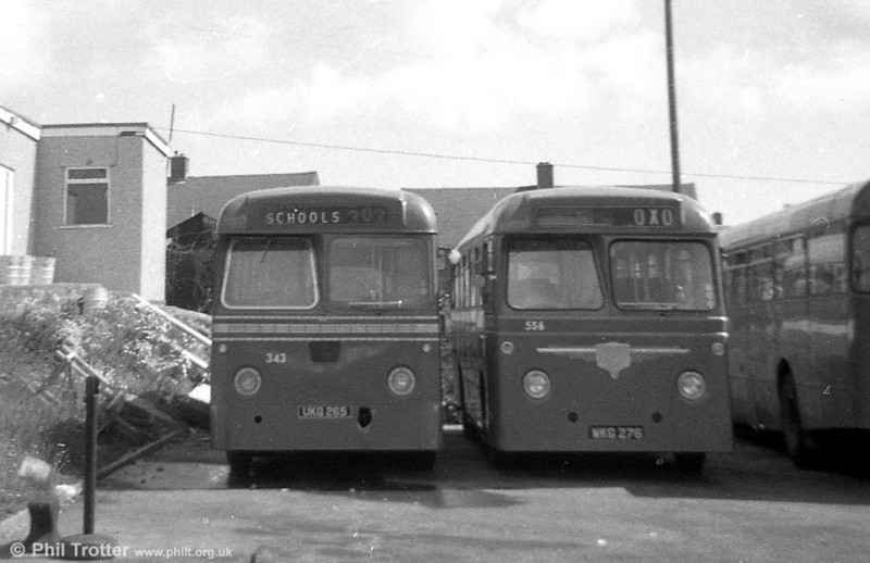 343 (UKG 265), a Leyland Tiger Cub/MCCW DP41F and 556 (WKG 276) an AEC Reliance 2MU3RA / Willowbrook DP41F, ex-Western Welsh, Haverfordwest and Neath respectively,