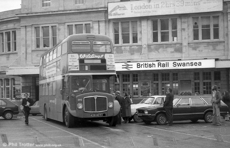 1964 AEC Regent V/Weymann H39/32F 595 (428 HCY) on rail replacement at Swansea Station.