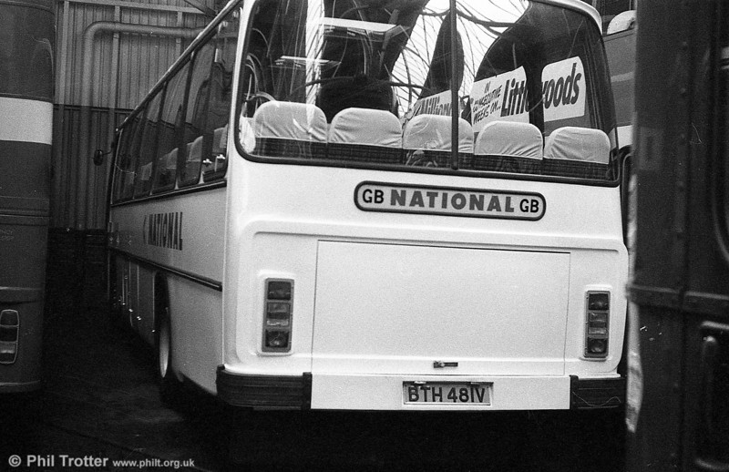 Delivered early in 1980 were 481-3 (BTH 481-3V), Leyland Leopard/Willowbrook DP51Fs. Although classed DP, they were delivered in full National white coach livery, as seen on 481.
